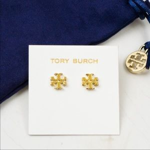 Tory Burch Gold Small Logo Earrings With Bag